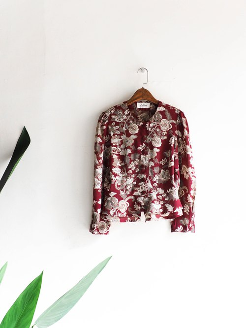 River Water - Nagano dark red spring festival retro actress antique silk blouse shirt shirt oversize vintage