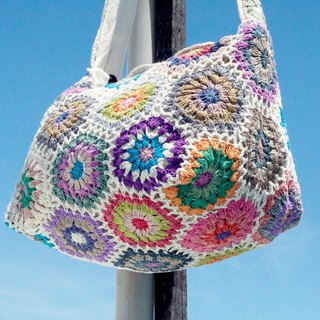 Handmade limited edition handmade crochet knit side backpack / shoulder bag / tote bag / Crossbody / knit bag - Scandinavian colorful flowers forest