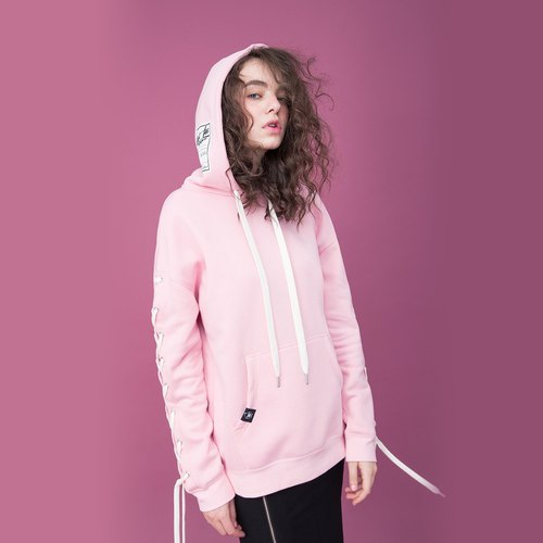 Unisex  Lace-up Sleeve Hoodie