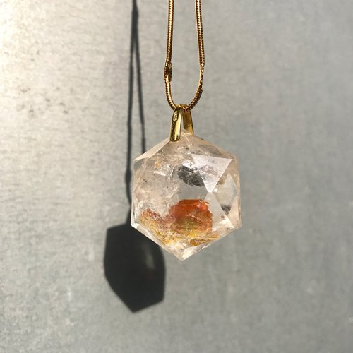 【Lost And Find】Natural flower metal in quartz necklace