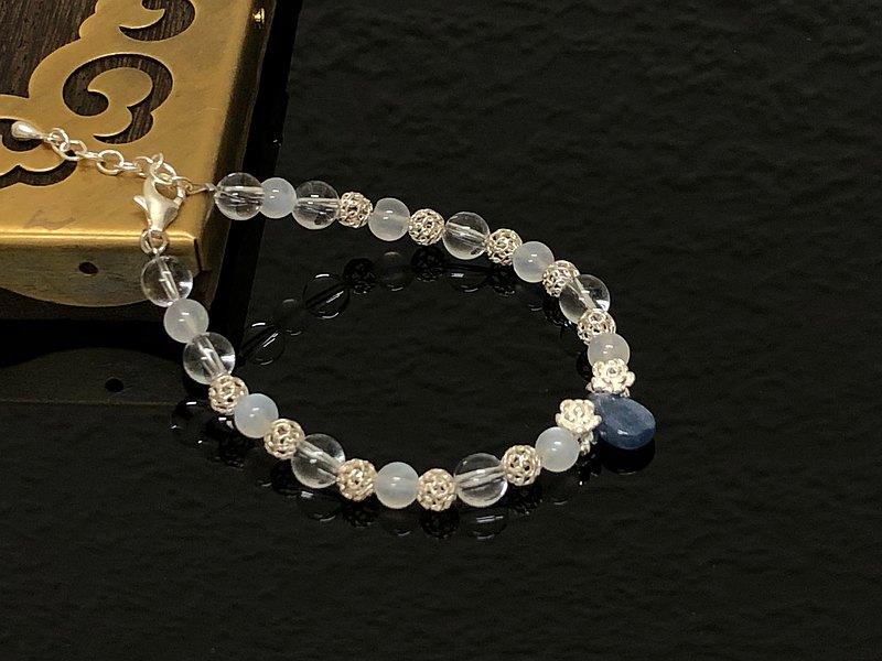 藍水晶/白水晶/月光石圓珠925純銀手鍊