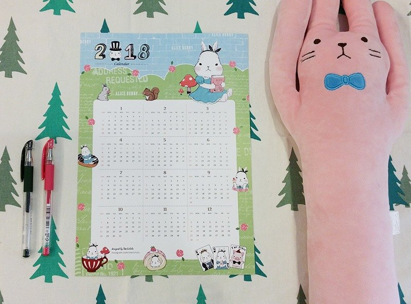 White Rabbit Alice -2018 fairy tale calendar card gives you a dream healing / exchange gifts