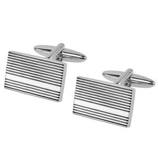 Silver with Black Gunmetal Stripes Cufflinks