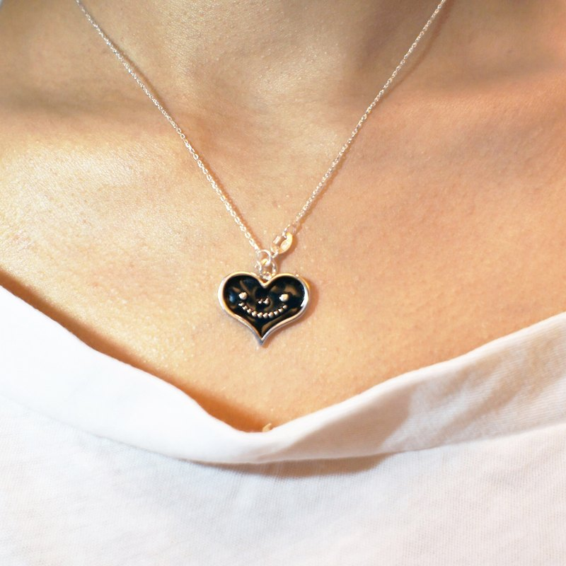 """Heart dream brand"" dream of metal jewelry series - black smile love necklace (925 sterling silver allergy)"