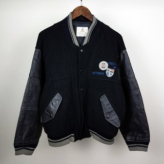 Turtle Gege - Heavy Japanese real leather stitching wool baseball jacket embroidered vintage