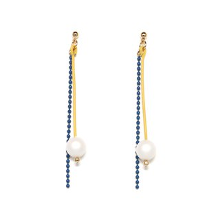matte drop - yellow × blue Beads earrings / earrings