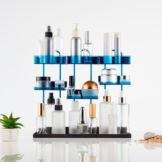 Magnetic Desktop Makeup Organizer - For 3 - Blue