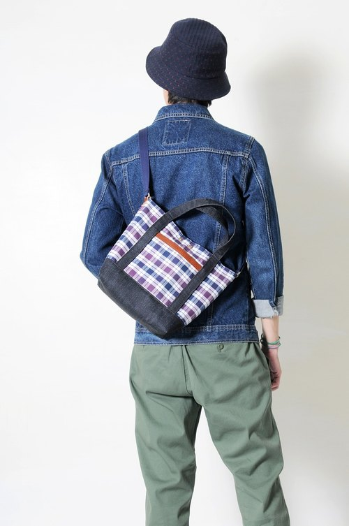 Tanabata RED CAPACITY-CHECK-handmade leather tannin plaid flannel portable/inclined side backpack