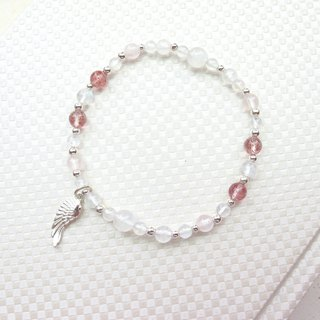 [Sakura Red Feather] Strawberry Crystal x Powder Crystal Moonstone x 925 Silver Jewelry