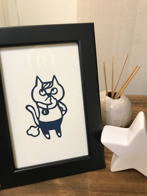 Good paper】 【puff puff. Cat litter cats paper hanging paintings / paper carving decoration / home layout / laser cutting