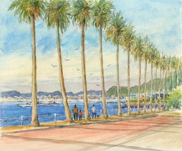 Watercolor painting Zushi marina 9