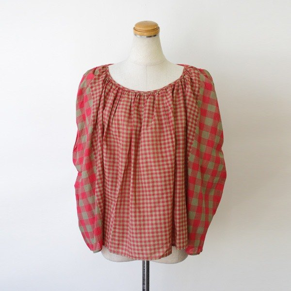 India hand glue hand-woven gingham cloth gather tops 8512-01001-75