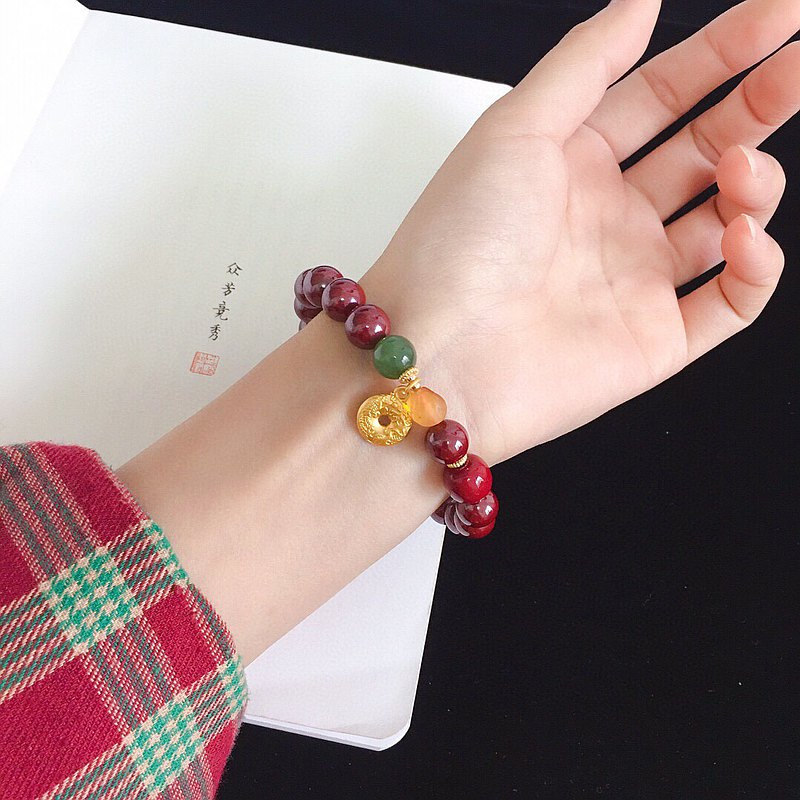 Natural raw ore cinnabar purple gold sand pumpkin beads bracelet 93% of the cinnabar amount will be turned into Tai Sui to ensure safety