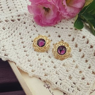 Round Gold Purple Rhinestone Decorative Scalloped Edge Vintage earrings