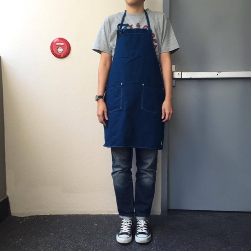 New Blue Washed Canvas Apron no.05 Silver rivets 2 pockets /garden/barista/ Handmade