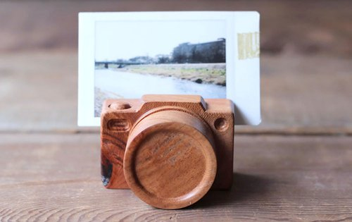 Handmade wooden miniature camera / photo business card holder
