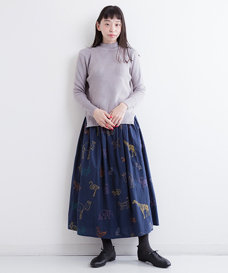 Safari Embroidery Pattern Skirt