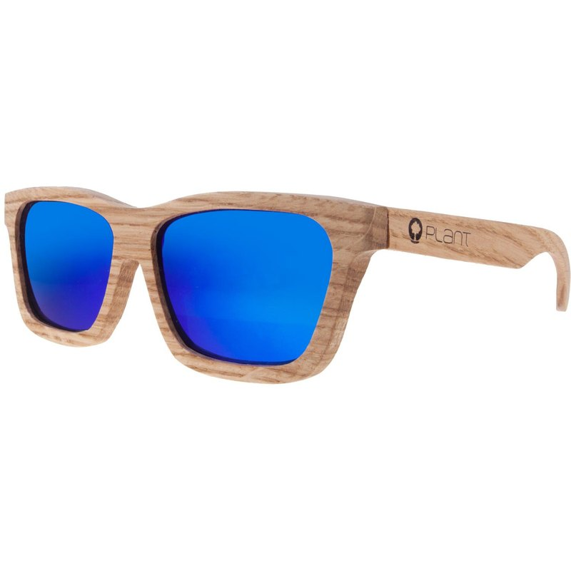 Plantwear European Handmade Solid Wood Sunglasses - Classic Collection - White Oak Solid Wood Frame + Camouflage Blue Lens