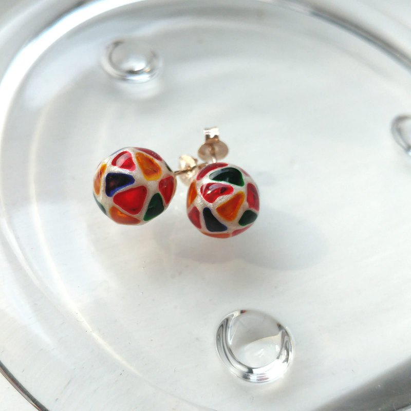 10mm Glass-painted Sterling Silver earrings - Pearl white line, Color