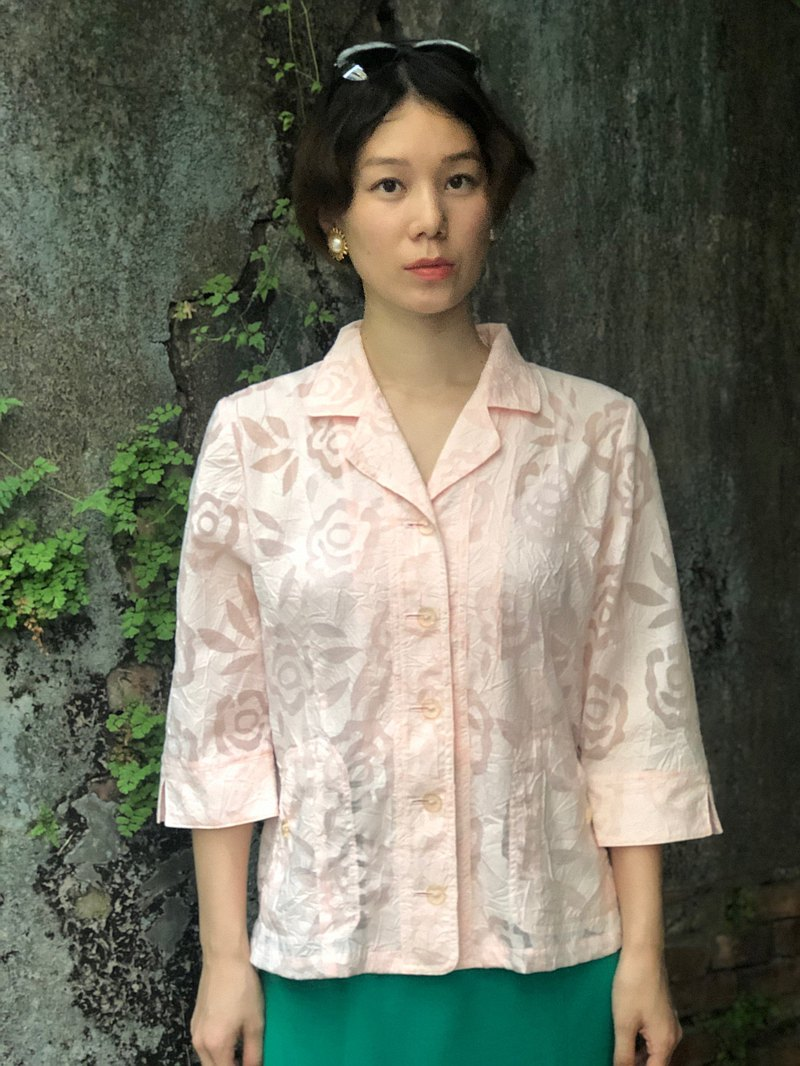 Lady in Pink Rose Translucent Folded Shirt
