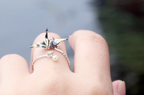 Mini cranes pearl rings (white Galaxia) - Valentine's Day gift