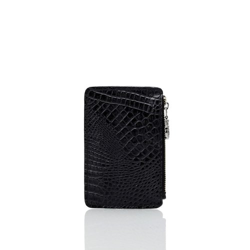 Black crocodile leather 8 card purse + black middle rope keyring