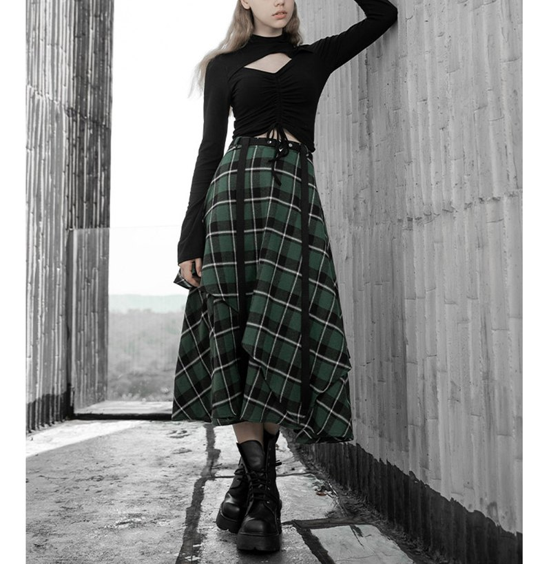 Scots Witch Double Irregular Skirt-Multicolor