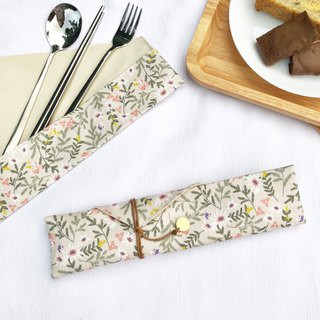 Romantic flower and tableware combination tableware storage bag with tableware