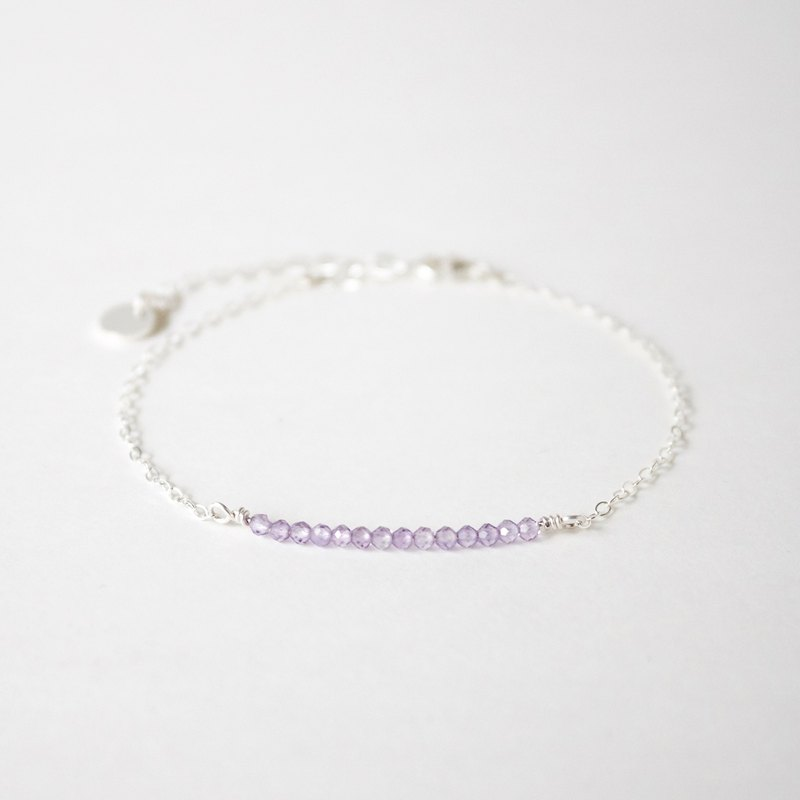 Handmade Simple Amethyst beads with 925 silver Bracelet, February Birth stone