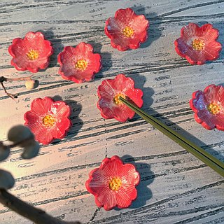 Bright cherry blossoming open chopsticks holder (sold out and then made money) _ pottery chopsticks holder