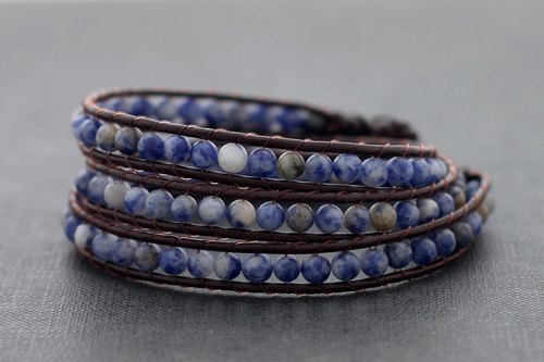 Leather Wrap Bracelets Sodalite Beaded Woven Stone
