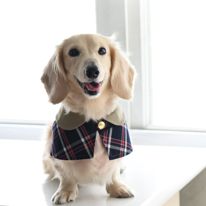 Handmade Tartan/Plaid Pet British Cape - Navy Blue - Dog【ZAZAZOO】
