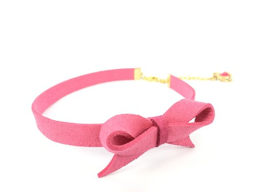 Pink suede bow Necklace