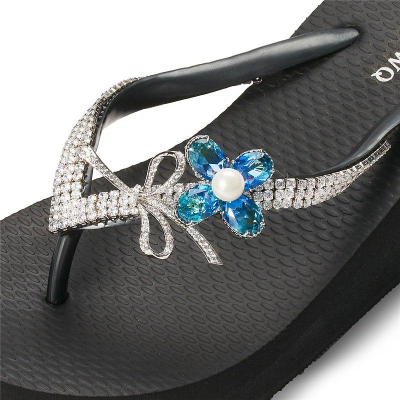 女款6cm厚底夾腳拖鞋-頂級首飾工藝水鑽-花束珍珠藍彩 爵士黑