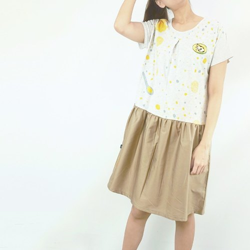 : Urb. [Love jade ice] stitching skirt pocket dress / beige skirt
