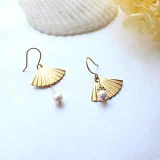 Pearl island -Brass handmade earrings