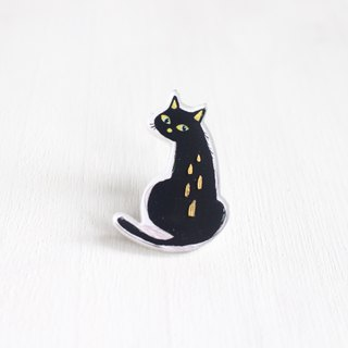 Curious Black Cat small badge / pin I Cat Lover
