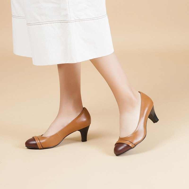 [French Waltz] Elegant Contrast Genuine Leather Heel - Mocha Toffee