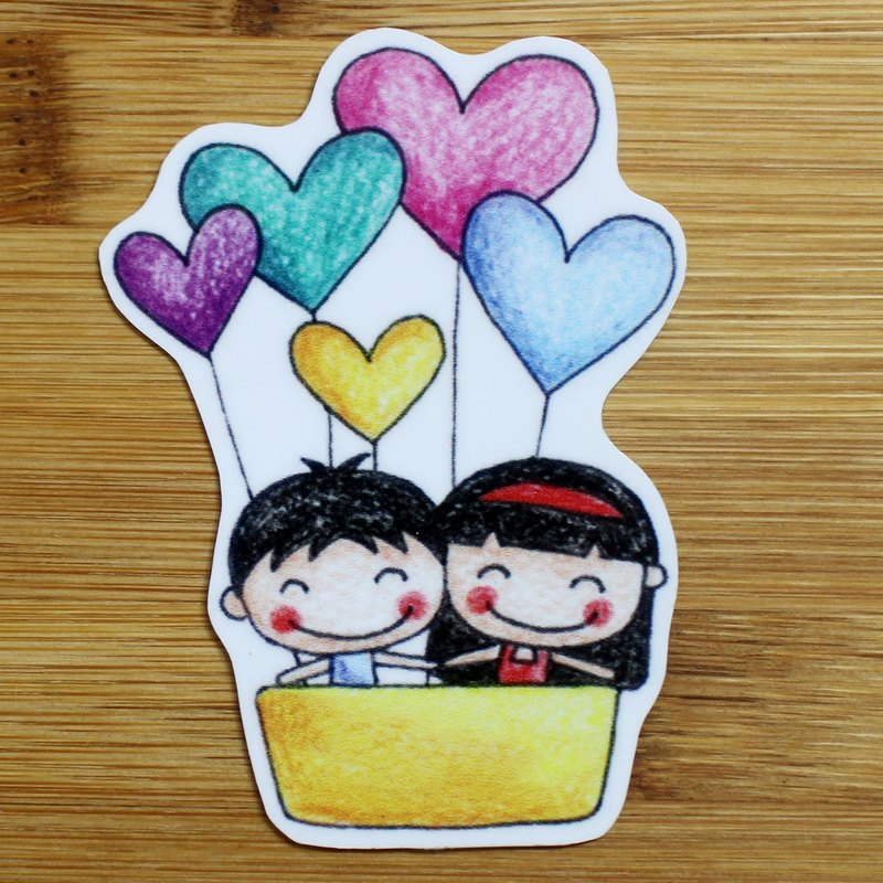 Waterproof stickers (small) _ men and women hot air balloon