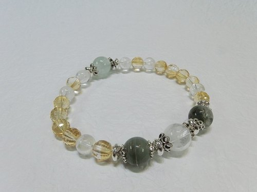 """Fortune and I"" - Yellow Crystal + Green Ghost + White Ghost + Cui You Ling Sterling Silver Bracelet Hong Kong Original Design"