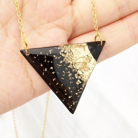Triangle Vinyl Record Gold Foil Handmade Necklace // Golden Desert