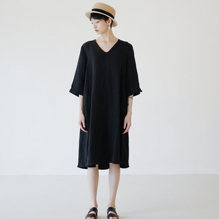 KOOW Shadow Copper Ammonia Linen Black Dress V-Neck Dress