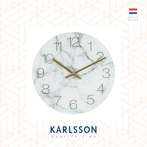 Karlsson, Wall clock Glass Marble white