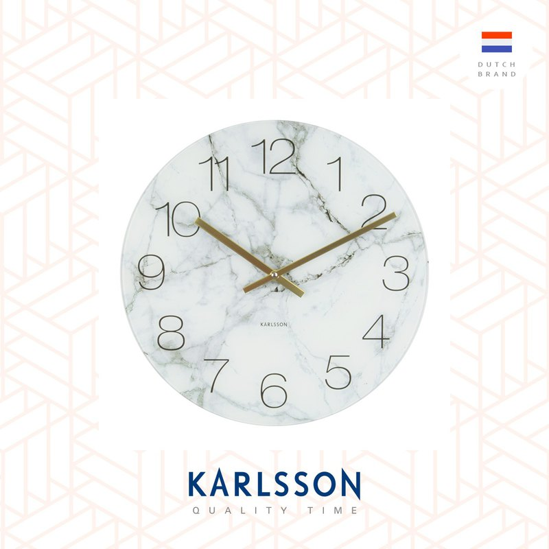 Karlsson, 玻璃白色雲石紋掛鐘 Wall clock Glass Marble white