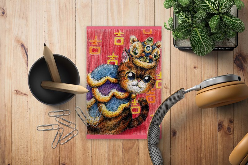Xiao Ji lion 2 cats Chinese style postcards