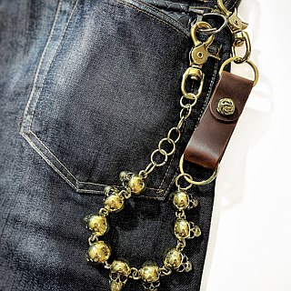 Skull party Wallet Chain and leather Key holder ,Solid Raw Brass, Biker jewelry