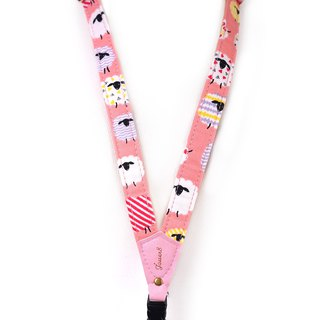 Mobile phone strap neck hanging type - geometric sheep