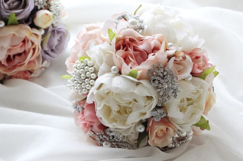 Jewelry Bouquet [Simulation Flower Series] fog pink peony flowers