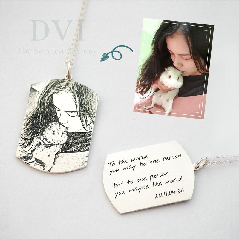 Personalized Photo Engrave Necklace Pets Dogs Lover Birthday Gift Memorial Gift