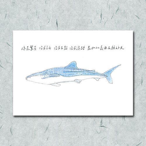 Animals with its poetry 28 / whale shark / hand painted / card postcard